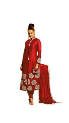 Buy Skyblue Fashion Red Banglori Silk Fabric Attractive Embroidered Semi Stitched Straight Suit Online at Low Prices in India - Paytm.com