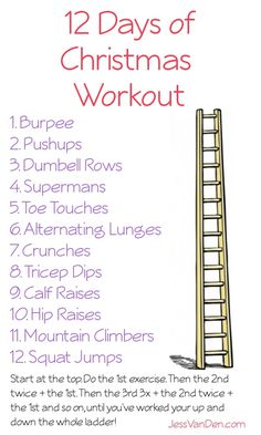 Christmas Ladder- I do reverse lunges as I have bad knees and this is easier on them. Also, instead of tricep dips (which are ridiculously bad for your shoulders) I do good ol' push-ups!.