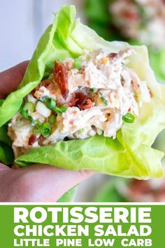 This rotisserie chicken salad is full of creamy crunchy cheddar-y bacon-y goodness mixed into a portable protein packed low carb lunch! Keto Lunch Ideas, Lunch Recipes, Low Carb Recipes, Whole Food Recipes, Salad Recipes, Healthy Recipes, Low Carb Lunch, Low Carb Diet, Keto Foods