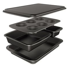 #BakersSecret Easy Store 5-pc. Nonstick Bakeware Box Set - As its name indicates, this set is easy to store. Each piece nests and stacks with the others for compact, space-saving storage. The pieces also are easy to use - they have nonstick surfaces (safe for metal utensils!) and are dishwasher safe.