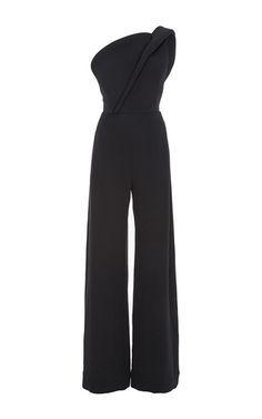 Crepe Silk One Shoulder Jumpsuit by BRANDON MAXWELL for Preorder on Moda Operandi