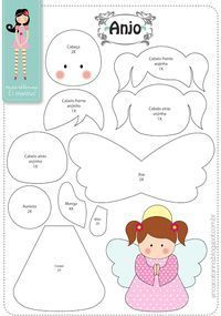 Easy DIY Felt Crafts, Felt Crafts Patterns and Felt Craft Tutorial Pdf. Felt Patterns, Applique Patterns, Craft Patterns, Stuffed Toys Patterns, Felt Christmas Ornaments, Angel Ornaments, Christmas Crafts, Felt Diy, Felt Crafts