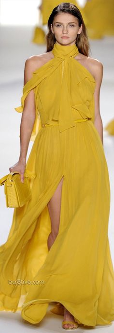 Fashion Show: Elie Saab Spring/Summer 2012 Ready-to-Wear Paris Fashion Week Fashion Week Paris, Runway Fashion, Fashion Show, Fashion Design, Elie Saab Spring, Yellow Fashion, Mannequins, Yellow Dress, The Dress