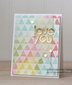 Patterned Triangles Background, Lots of Love Die-namics - Kimberly Crawford #mftstmps #tutorial