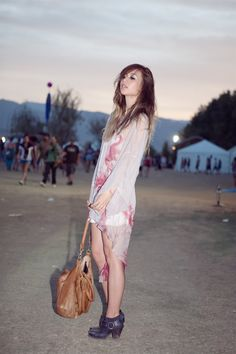 fashiontoast | 04/19/2011 coachella one Topshop sheer dress, vintage slip, Deadly Ponies bag, Jeffrey Campbell boots.