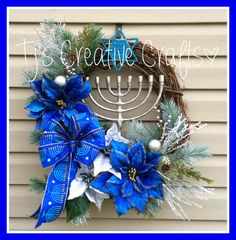 Hanukkah Wreath Designer Hanukkah Decorations by TjsCreativeCrafts
