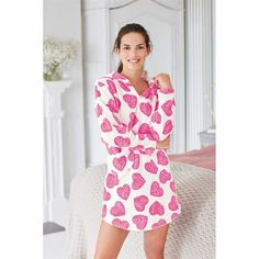 Super cosy heart dress with hood and pockets. White with all over pink heart design. Heart Dress, Cosy, Avon, Beauty Direct, Hoods, Black Women, White Dress, Size 10, Rompers