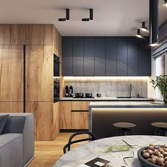 _ 🏠 I Really Enjoy This Modern And Sleek Space! 💬 Do You Appreciate The Colour Scheme? 📣 Design By Loft Kitchen, Kitchen Room Design, Modern Kitchen Cabinets, Kitchen Cabinet Design, Modern Kitchen Design, Apartment Kitchen, Home Decor Kitchen, Kitchen Interior, Home Kitchens