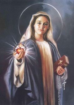 Sacred Heart Immaculate Heart Icon | Immaculate Heart Of Mary Done In Photo Stitch Embroidery