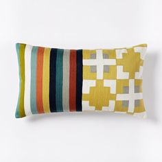 Wallace Sewell Blocks + Stripes Crewel Pillow Cover | west elm