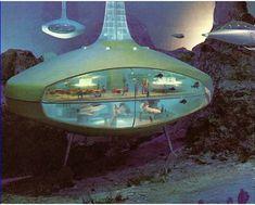 Undersea hotel model from GM Futurama II, 1964 World's Fair : RetroFuturism Arte Sci Fi, Sci Fi Art, Futuristic Design, Futuristic Architecture, Futurama, Colani, World Of Tomorrow, Science Fiction Art, World's Fair