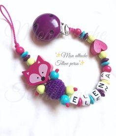 attache tétine personnalisée perles en bois ~ modèle renard fuschia : Puériculture par mon-attache-tetine-perso