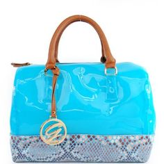 Amazon.com: Designer Inspired Colorful Patent Faux Leather Candy Bag Color Block Tote Satchel Boston Handbag Purse with Shoulder Strap in Blue and Animal Print Snakeskin: Clothing $51.99