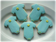 Baby Boy Onesie Cookies! - I made these for a co-worker's baby shower. NFSC with fondant decorations. Thanks CCer's for inspiration. Enjoy!