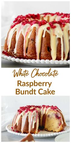 Smooth and delicious, this White Chocolate Raspberry Bundt Cake recipe will make you a fan of this combination!The flavors are subtle and deep at the same time, the crumb is dense and tender and the cake lasts for several days. White Chocolate Raspberry Bundt Cake Recipe, Chocolate Bundt Cake, White Chocolate Desserts, Baking Chocolate, Chocolate Tarts, Chocolate Ganache, Köstliche Desserts, Delicious Desserts, Cake