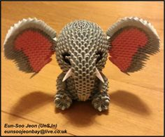 3D Modular Origami Elephant Front View by UNSJN on DeviantArt