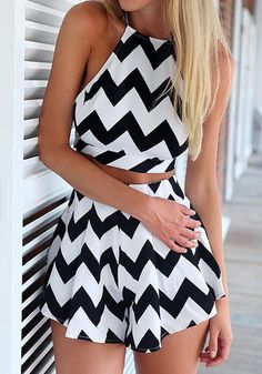 Get ready to rock summer with this chevron two-piece short set. It's a combination of a crop top and a pair for shorts with chevron prints. ...