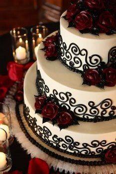Wedding, Cake, White, Black