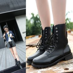 Womens Punk Motor Biker Boots Ankle Low Heels Boots Lace Up Riding Boots Plus Sz