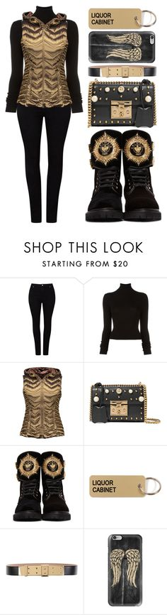 """Untitled #669"" by metalhippieprincess ❤ liked on Polyvore featuring Studio 8, BLK DNM, Blanc Noir, Gucci, Balmain, Various Projects, Lanvin and Casetify"