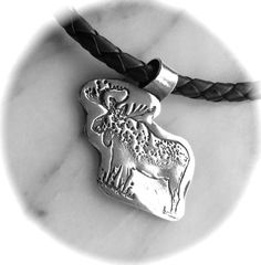 Moose Pendant, Recycled silver, Eco-friendly, Wildlife
