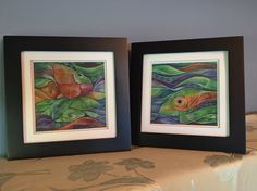 matted and framed (square abstract fish) - side by side
