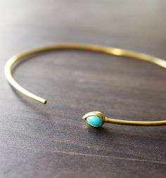 Turquoise Open Gold Bangle OOAK by friedasophie on Etsy