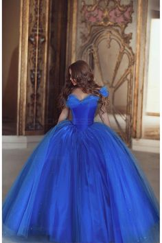 Princess Quinceanera Dresses Off the Shoulder Royal Blue Organza Ball Gown Prom Dresses Sweet 16 Dresses,MB 82 Cinderella Quinceanera Dress, Cinderella Dresses, Quinceanera Dresses, Princess Dresses, Princess Style, Cinderella Movie, Blue Ball Gowns, Ball Gowns Prom, Ball Dresses