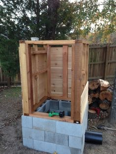 Cedar smokehouse construction
