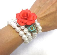 Day Of The Dead Sugar Skull Bracelet for Rockabilly wedding