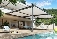 En variant av pergola. Pergola er et fleksibelt tak du stenger eller åpner etter behov.