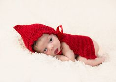 Little Red Riding Hood Cape Halloween Costume For Newborn Baby Photography Prop Crochet Knit 0-3 months