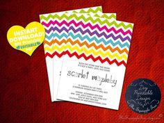 Printable Rainbow Birthday Invitations ~ The best free printable birthday invitations retro floral