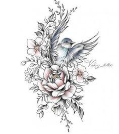 Jasmine Flower Tattoos, Bird And Flower Tattoo, Flower Tattoo Designs, Mandala Flower Tattoos, Tattoo Flowers, Flower Tattoos On Shoulder, Dogwood Tattoo, Bouquet Tattoo, Tattoo Floral