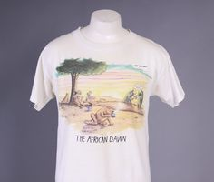 far side t shirts | 80s The FAR SIDE T-SHIRT / 1980s The African Dawn Gary Larson Tee M ...