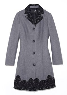 Love Moschino greay coat with lace lining, sold on ideeli