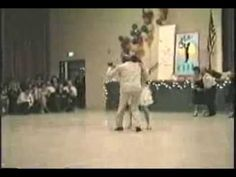 Frankie Manning dances with Erin Stevens in 1989.  I love watching Frankie Manning!  His enthusiasm is infectious...father of Lindy Hop 1930s....so much personality on and off the dance floor!  Erin was credited with bringing him out of (lindy) retirement in the 80s.  I learned the basics from their videos.