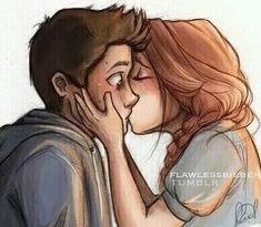 the first time i saw this drawing-before i knew what teen wolf was i fell in LOVE with it- i love this drawing. and now i know uts stiles and lydia, when lydia was saving him from his panic attack omg i love this even Cute Couple Drawings, Cute Couple Cartoon, Cute Sketches Of Couples, Cute Couple Art, Drawings Of Couples, Love Drawings For Her, Couple Kiss Drawing, Couple Drawing Images, Couple Drawings Tumblr