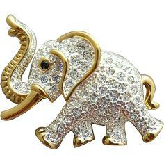 Vintage Rhinestone Elephant Brooch Trunk Up by Roman MIB
