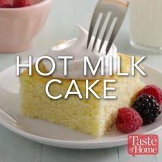 Hot Milk Cake Recipe Recipes and yummy cake tips Easy Desserts, Delicious Desserts, Dessert Recipes, Yummy Food, Snacks Recipes, Milk Recipes, Easy Cake Recipes, Healthy Food, Hot Milk Cake