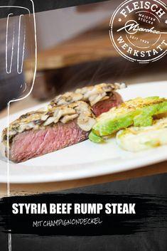 Rump Steak vom Styria Beef ist herrlich zart. Im eigenen Fett gebraten kann es sein volles Aroma entfalten. Als Beilagen braucht es nicht viel. Überbacken mit Champignons und zartem Romanesco. Beef Rump, Rump Steak, Steaks, Rind, Fett, Roasts, Meat, Side Plates, Food Recipes
