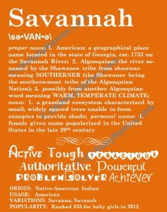 Items similar to SAVANNAH Personalized Name Print / Typography Print / Detailed Name Definitions / Numerology-calculated Destiny Traits / Educational on Etsy Name Boards, Female Names, Future Love, Country Quotes, Women Names, Place Names, Names With Meaning, Baby Girl Names, Savannah Chat
