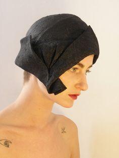 Black 1920's Flapper Style Hat handmade straw Hat by ElenaMassari, $264.00