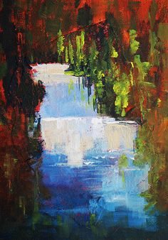 Abstract Waterfall Painting; Landscape Art by Nancy Merkle; Original and Fine Art Reproductions
