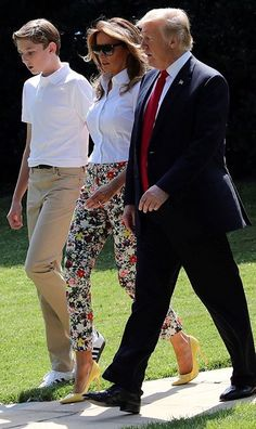 The first lady and her husband, President Donald Trump, were also joined by her mother Amalija Knavs as they traveled to Trump National Golf Club in Bedminster, New Jersey.