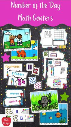 My Number of the Day Math Centers focus on numbers 11 thru 20 and feature various activities to help your students grasp a better understanding of number concepts. Number of the Day Math Centers are a great addition to math lessons and number talks. Each center is accented with bright colors and fun graphics! #teacherspayteachers #tpt First Grade Activities, Learning Activities, School Resources, Teaching Resources, Number Anchor Charts, Number Talks, Teaching Kindergarten, Math Games, Math Lessons