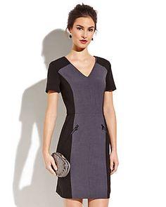 ANDREW MARC Black V-Neck Color Block Dress