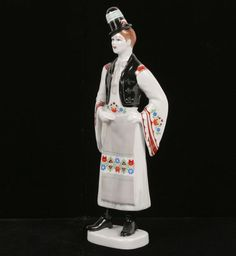 Hollohaza Hungarian porcelain costumed figure with hand painted detail. Hungary, Folk Art, Symbols, Hand Painted, Culture, Crystal, Costumes, Dolls, Detail