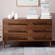 """$839  Dimensions: 56""""w x 18""""d x 33""""h. Benson 6-Drawer Dresser - Dark Walnut"""
