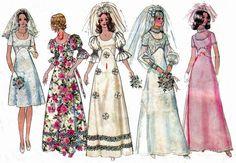 70s Vintage Wedding Dress Pattern by allthepreciousthings on Etsy,